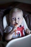 男婴在家 免版税图库摄影