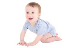 男婴在白色隔绝的小孩笑 免版税库存图片