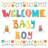 男婴欢迎 到达男婴插件边框照片文本 男婴阵雨卡片 免版税图库摄影