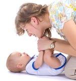 男婴母亲 免版税库存照片
