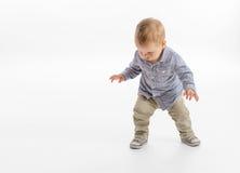 男婴的第一步 免版税库存照片