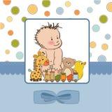 男婴看板卡阵雨 库存图片