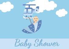男婴看板卡阵雨 免版税库存照片
