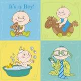 男婴更改地址通知单或婴儿送礼会看板卡 图库摄影