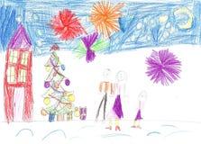 画一个愉快的家庭的儿童` s 库存图片
