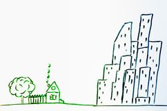 画一个房子在村庄和城市 免版税库存图片