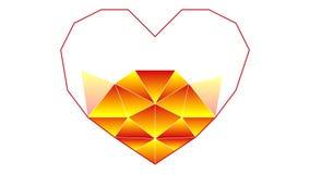 画在一个多角形技术的心脏的过程 爱标志和隐喻  录影 皇族释放例证