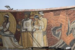 画在蒙古语的Zaisan纪念品 库存图片