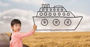 画在路的女孩一艘船 免版税库存照片