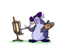 画家企鹅 向量例证