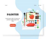画家传染媒介网站着陆页设计模板 向量例证