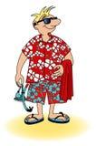 画小人的漫画去海滩 免版税库存照片
