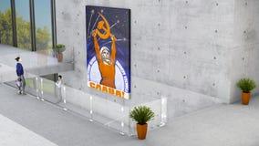 画展、大厦、博物馆、建筑学和设计、彩色玻璃和混凝土 图库摄影