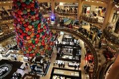 画廊la fayette的百货商店,在巴黎的中心 2018年12月 库存图片