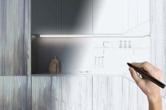 画当代厨房的手 向量例证