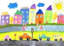 画愉快的家庭,大厦,汽车的儿童` s 免版税库存图片