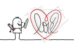 画新的图表心脏的动画片设计师 免版税库存图片