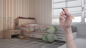 画有单人床的手习惯现代最低纲领派儿童卧室 与枕头的床关闭  被剪裁的未完成的项目archit 库存图片