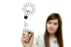 画电灯泡想法的现有量。 图库摄影