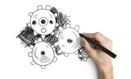 画的抽象齿轮 免版税库存图片