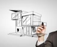 画的现代房子 免版税库存图片