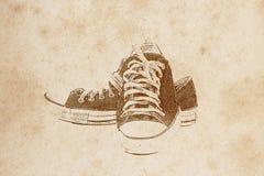画的老鞋子 库存照片
