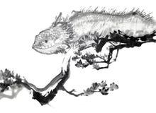 画笔中国图画墨水蜥蜴 免版税库存图片
