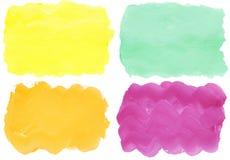 画笔五颜六色的手画冲程水彩 免版税库存照片