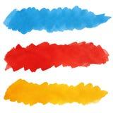 画笔五颜六色的油漆集合冲程 库存例证