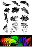 画笔交叉阴影线铅笔集合冲程向量 免版税库存照片