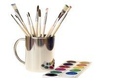画笔杯子油漆 免版税库存照片