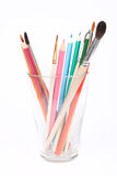 画笔杯子玻璃铅笔 库存图片