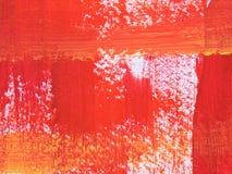 画笔橙红冲程纹理 免版税库存图片