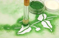 画笔油漆钢板蜡纸 免版税库存图片
