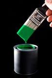 画笔绿色油漆 图库摄影