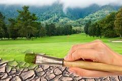 画笔路线高尔夫球现有量油漆 免版税库存照片