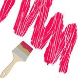 画笔,在白色背景的被绘的红色油漆 免版税图库摄影