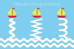 画船和波浪,手写实践板料,孩子学龄前活动,教育儿童比赛,可印的活页练习题轨道  皇族释放例证