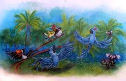 画蓝色鹦鹉和猴子在热带棕榈背景的儿童` s  皇族释放例证