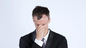 画象一哀伤的商人盖他的面孔,损失, stressd,沮丧 免版税库存图片