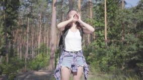 画象俏丽的害怕的年轻女人迷路在森林里,她要求帮助 女孩绝望,她是单独的  股票视频
