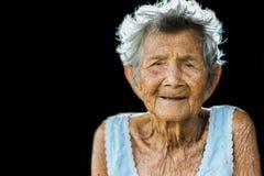 画象压下和无能为力的年长妇女,祖母开会 图库摄影