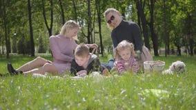 画象年轻家庭室外休闲 两个美丽的年轻母亲和他们的孩子一顿野餐的在公园 一个男孩 股票视频
