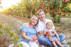 画象微笑做父母与女婴女儿获得休息和乐趣在日落的pomegrate果子庭院 愉快的系列 图库摄影