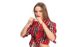 画象的性感的拳击手战斗机关闭 库存图片
