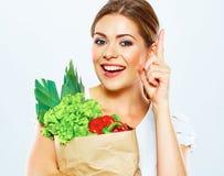 画象的想法的妇女关闭用绿色食物 免版税图库摄影