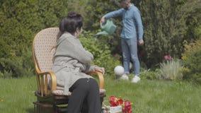 画象逗人喜爱的成熟夫人坐享用太阳的摇椅的草坪 与郁金香的篮子在附近 股票视频