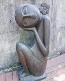 画象雕塑,逗人喜爱的小女孩 免版税图库摄影