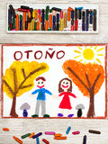 画:与黄色和橙树的西班牙词秋天、微笑的夫妇和树 免版税库存图片