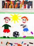 画:两个小男孩戏剧橄榄球 比赛足球 免版税图库摄影